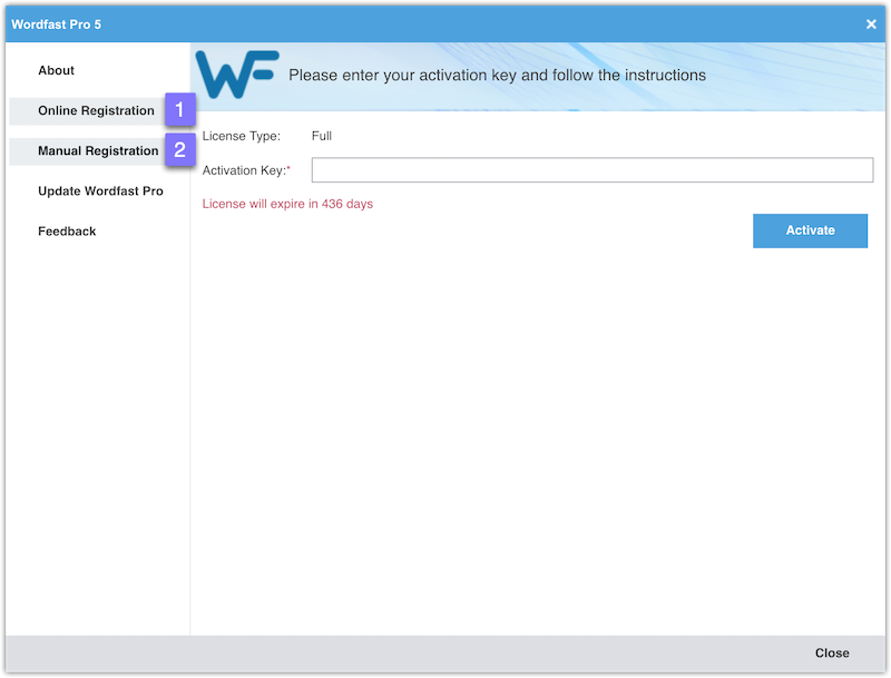 Licensing window in WFP5